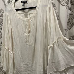 Tops - Eileen Fisher blouse, XL off white and gold